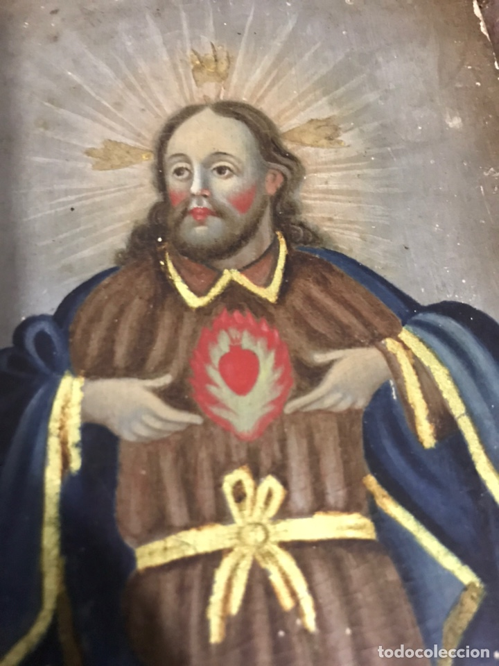 Arte: ANTIGUO RETABLO CORAZÓN DE JESÚS PINTADO SOBRE MADERA - Foto 10 - 140755446