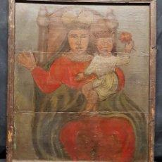 Arte: TABLA VIRGEN CON NIÑO POPULAR SIGLO XVIII. Lote 204614911