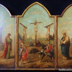 Arte: TRÍPTICO DE LA CRUCIFIXIÓN. ESCUELA FLAMENCA. SIGLO XVII. ÓLEO SOBRE TABLA. 102 X 88 CM.. Lote 151899106