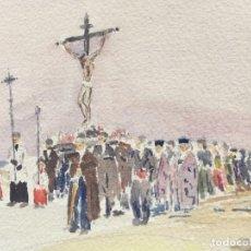 Arte: ACUARELA PROCESIÓN - ORIGINAL 1949 -. Lote 204688227