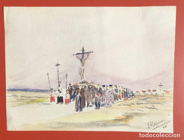 Arte: ACUARELA PROCESIÓN - ORIGINAL 1949 - - Foto 2 - 204688227