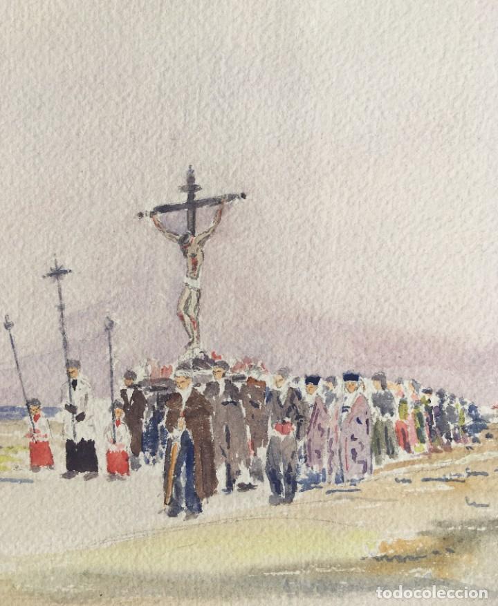 Arte: ACUARELA PROCESIÓN - ORIGINAL 1949 - - Foto 3 - 204688227