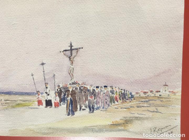 Arte: ACUARELA PROCESIÓN - ORIGINAL 1949 - - Foto 5 - 204688227