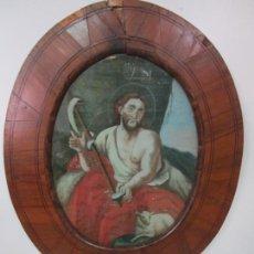 Arte: PINTURA RELIGIOSA - ÓLEO SOBRE CRISTAL - EL CORDERO DE DIOS - MARCO OVALADO - S. XVIII. Lote 204764520