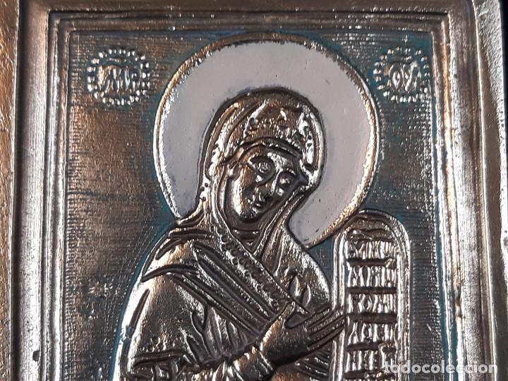 Arte: La virgen y Crucifixión.Icono doble . Bronce y esmalte. Rusia. Siglo XIX-XX. Colgante. - Foto 8 - 204993985