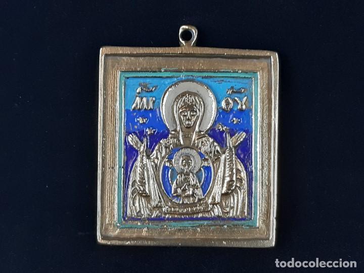 VIRGEN CON EL NIÑO. ICONO. BRONCE Y ESMALTE. RUSIA. SIGLO XIX-XX. (Arte - Arte Religioso - Iconos)