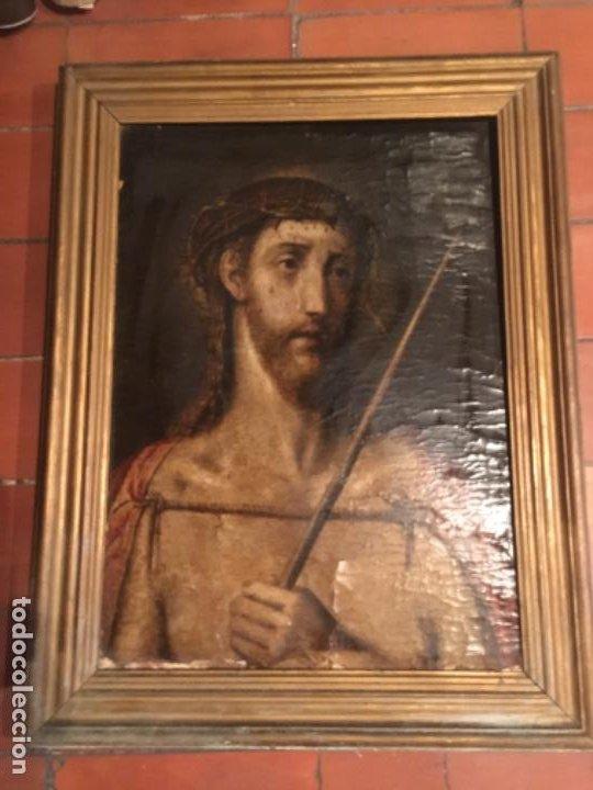 (M) ANTIGUA PINTURA RELIGIOSA SOBRE TABLA - S. XVI-XVII- ORIGINAL DE LA ÉPOCA - TABLA 61X45 CM. CON (Arte - Arte Religioso - Pintura Religiosa - Oleo)