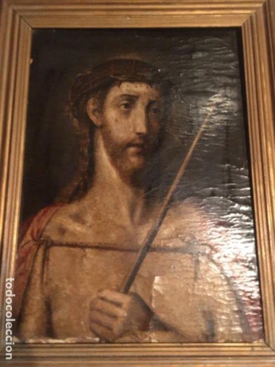 Arte: (M) ANTIGUA PINTURA RELIGIOSA SOBRE TABLA - S. XVI-XVII- original de la época - tabla 61X45 cm. Con - Foto 2 - 205016568