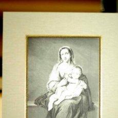 Arte: LA VIRGEN Y EL NIÑO JESUS DE MURILLO GRABADO S XIX MONTAJE PASSEPARTOUT. Lote 205240413
