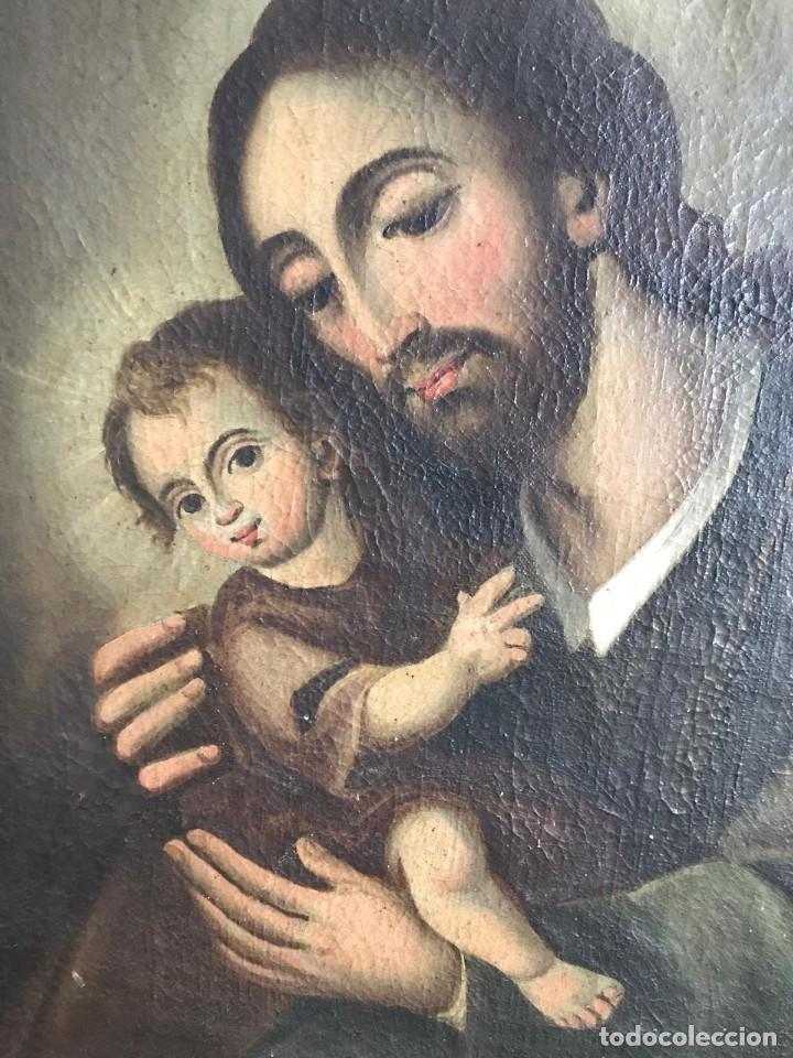 Arte: SAN JOSE CON NIÑO. SIGLO XVIII. LIENZO 42,7X35,3. ESCUELA ESPAÑOLA. - Foto 2 - 205333173
