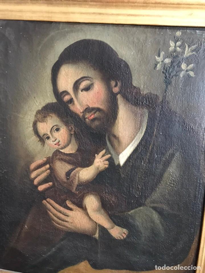 Arte: SAN JOSE CON NIÑO. SIGLO XVIII. LIENZO 42,7X35,3. ESCUELA ESPAÑOLA. - Foto 3 - 205333173