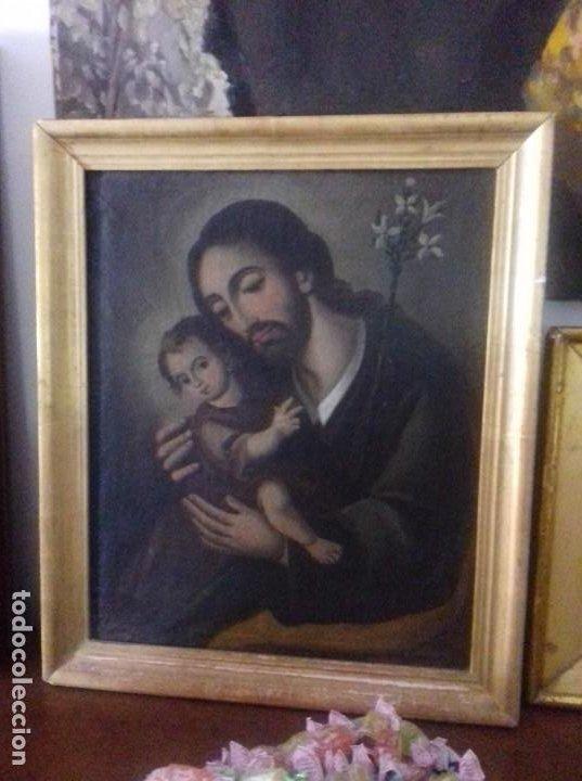 Arte: SAN JOSE CON NIÑO. SIGLO XVIII. LIENZO 42,7X35,3. ESCUELA ESPAÑOLA. - Foto 4 - 205333173