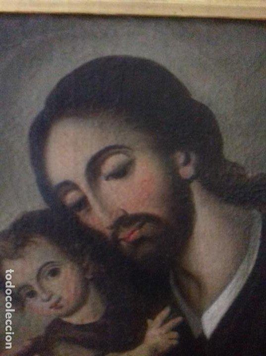 Arte: SAN JOSE CON NIÑO. SIGLO XVIII. LIENZO 42,7X35,3. ESCUELA ESPAÑOLA. - Foto 5 - 205333173