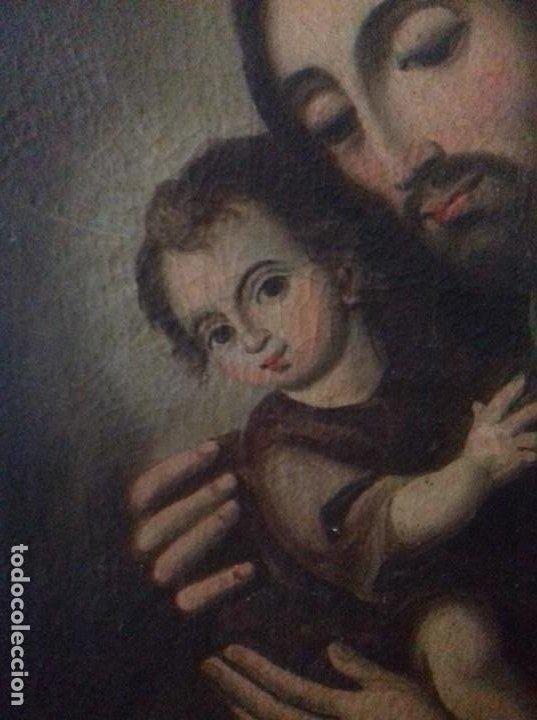 Arte: SAN JOSE CON NIÑO. SIGLO XVIII. LIENZO 42,7X35,3. ESCUELA ESPAÑOLA. - Foto 6 - 205333173