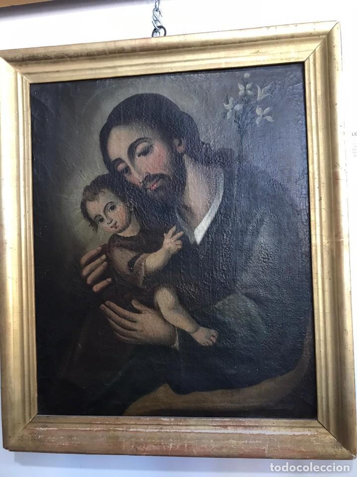 SAN JOSE CON NIÑO. SIGLO XVIII. LIENZO 42,7X35,3. ESCUELA ESPAÑOLA. (Arte - Arte Religioso - Pintura Religiosa - Oleo)