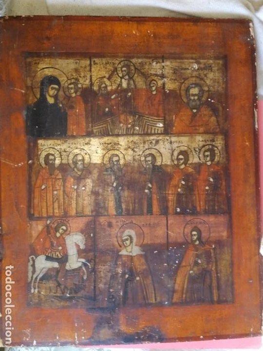 Arte: Icono ruso antiguo sobre tabla con Virgen y Santos, ( San Jorge ) S. XIX - Foto 2 - 205334423