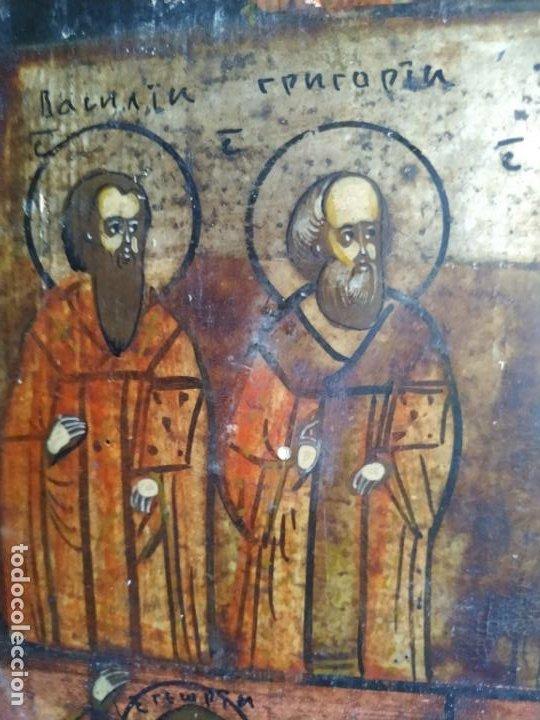 Arte: Icono ruso antiguo sobre tabla con Virgen y Santos, ( San Jorge ) S. XIX - Foto 3 - 205334423
