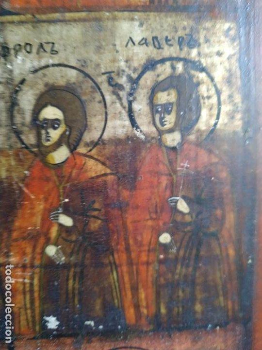 Arte: Icono ruso antiguo sobre tabla con Virgen y Santos, ( San Jorge ) S. XIX - Foto 4 - 205334423