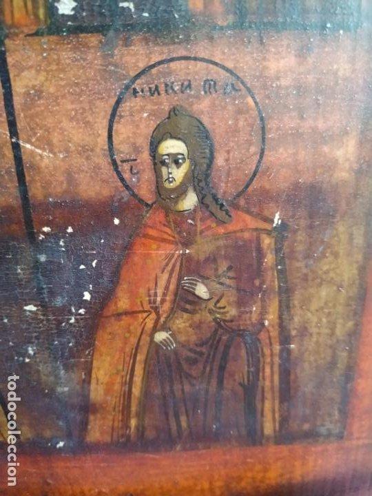 Arte: Icono ruso antiguo sobre tabla con Virgen y Santos, ( San Jorge ) S. XIX - Foto 5 - 205334423