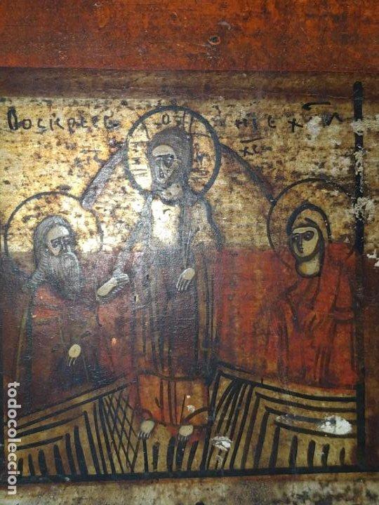 Arte: Icono ruso antiguo sobre tabla con Virgen y Santos, ( San Jorge ) S. XIX - Foto 6 - 205334423