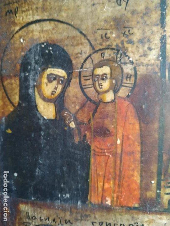 Arte: Icono ruso antiguo sobre tabla con Virgen y Santos, ( San Jorge ) S. XIX - Foto 7 - 205334423