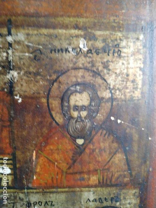 Arte: Icono ruso antiguo sobre tabla con Virgen y Santos, ( San Jorge ) S. XIX - Foto 9 - 205334423