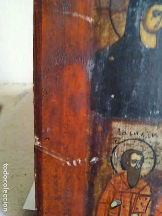 Arte: Icono ruso antiguo sobre tabla con Virgen y Santos, ( San Jorge ) S. XIX - Foto 10 - 205334423