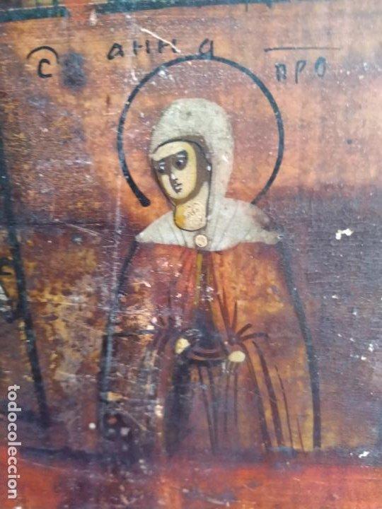 Arte: Icono ruso antiguo sobre tabla con Virgen y Santos, ( San Jorge ) S. XIX - Foto 11 - 205334423
