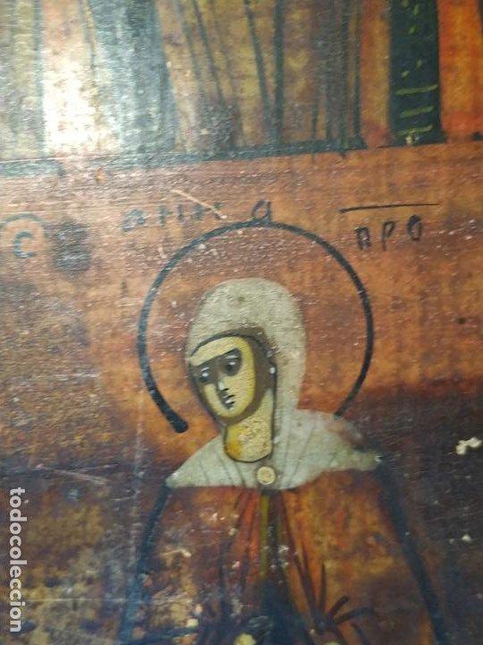 Arte: Icono ruso antiguo sobre tabla con Virgen y Santos, ( San Jorge ) S. XIX - Foto 12 - 205334423
