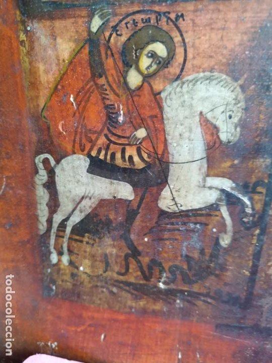 ICONO RUSO ANTIGUO SOBRE TABLA CON VIRGEN Y SANTOS, ( SAN JORGE ) S. XIX (Arte - Arte Religioso - Iconos)