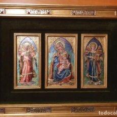Arte: CUADRO TRIPTICO ESMALTADO AL FUEGO RELIGIOSO. Lote 199689862