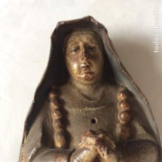 Arte: ANTIGUA TALLA DE MADERA VIRGEN DE LA SOLEDAD FINALES S XVIII TALLA SOBRE MADERA DE NOGAL. Lote 205457265