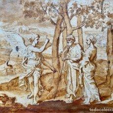 Arte: DIBUJO O BOCETO ANGEL ANUNCIANDO A LOT LA DESTRUCCIÓN DE SODOMA S.XVIII. Lote 205571407