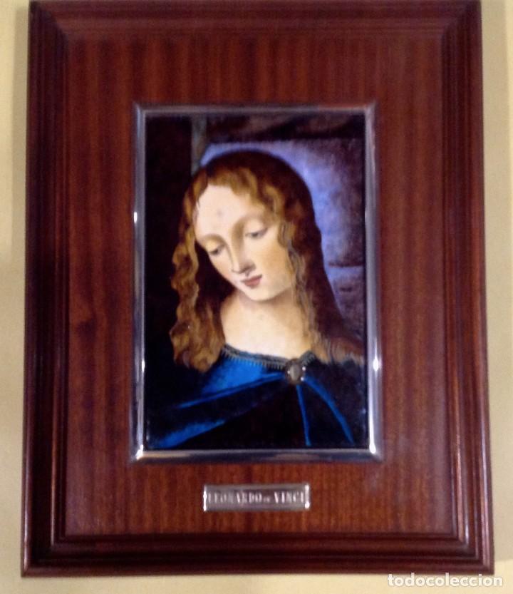 Arte: Cuadro De Madera Con Esmalte Enmarcado En Plata De Ley Leonardo De Vinci - Foto 2 - 205700002