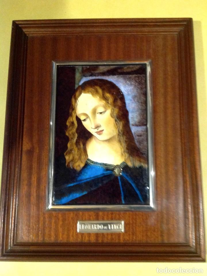 Arte: Cuadro De Madera Con Esmalte Enmarcado En Plata De Ley Leonardo De Vinci - Foto 3 - 205700002