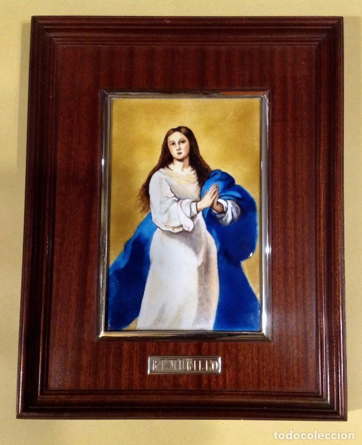 Arte: Cuadro De Madera Con Esmalte Enmarcado En Plata De Ley B.E. Murillo - Foto 2 - 205700783
