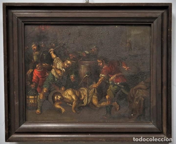 LA FLAGELACION DE CRISTO. OLEO S/ CHAPA. SIGLO XVIII (Arte - Arte Religioso - Pintura Religiosa - Oleo)
