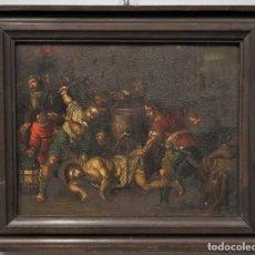 Arte: LA FLAGELACION DE CRISTO. OLEO S/ CHAPA. SIGLO XVIII. Lote 205725922