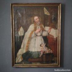 Arte: GRAN OLEO IMAGEN DE SAN NICOLAS DE BARI ESCUELA SEVILLANA FIRMADO JOSE MARIA ARANGO PRINCIPIOS S XIX. Lote 205798666