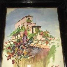 Arte: ANTIGUA ACUARELA CASA DE PUEBLO FIRMADA 1931. Lote 205800203
