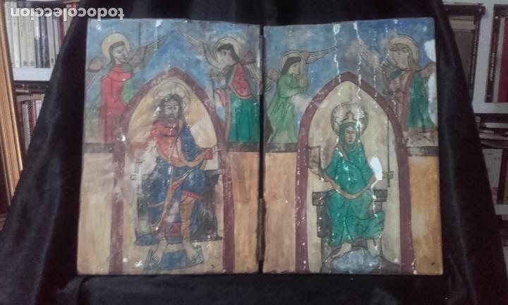 DÍPTICO CRISTO Y VIRGEN MARÍA / ESTILO ROMÁNICO (Arte - Arte Religioso - Retablos)