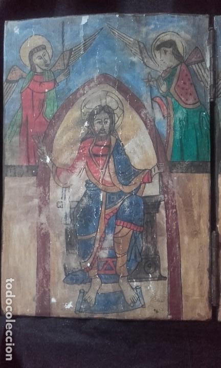 Arte: Díptico Cristo y Virgen María / estilo románico - Foto 2 - 205824322