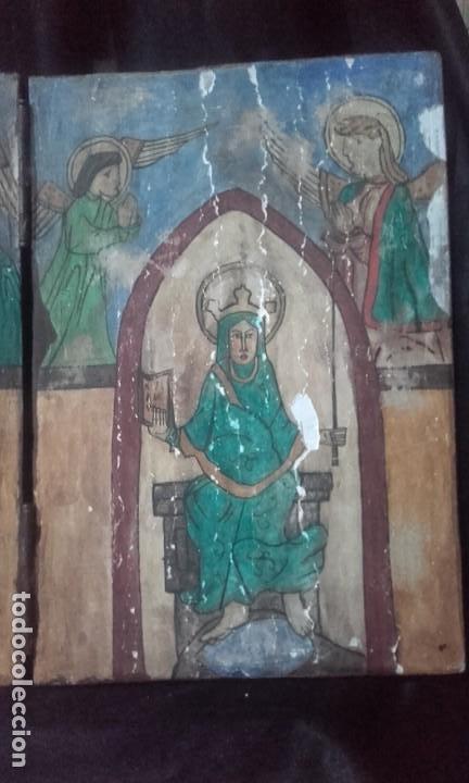 Arte: Díptico Cristo y Virgen María / estilo románico - Foto 3 - 205824322