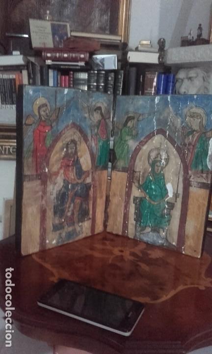 Arte: Díptico Cristo y Virgen María / estilo románico - Foto 5 - 205824322