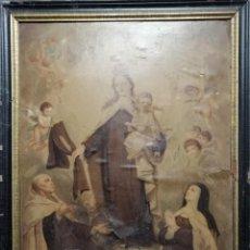 Arte: VIRGEN DEL CARMEN, SANTA TERESA Y SAN JUAN DE LA CRUZ. ÓLEOGRAFÍA E. GIMENO REGNIER, 1890-93. Lote 205851873