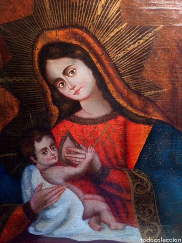 Arte: Precioso óleo sobre lienzo.Virgen de la leche. Escuela Cuzqueña? - Foto 2 - 206151096