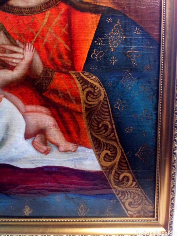 Arte: Precioso óleo sobre lienzo.Virgen de la leche. Escuela Cuzqueña? - Foto 3 - 206151096