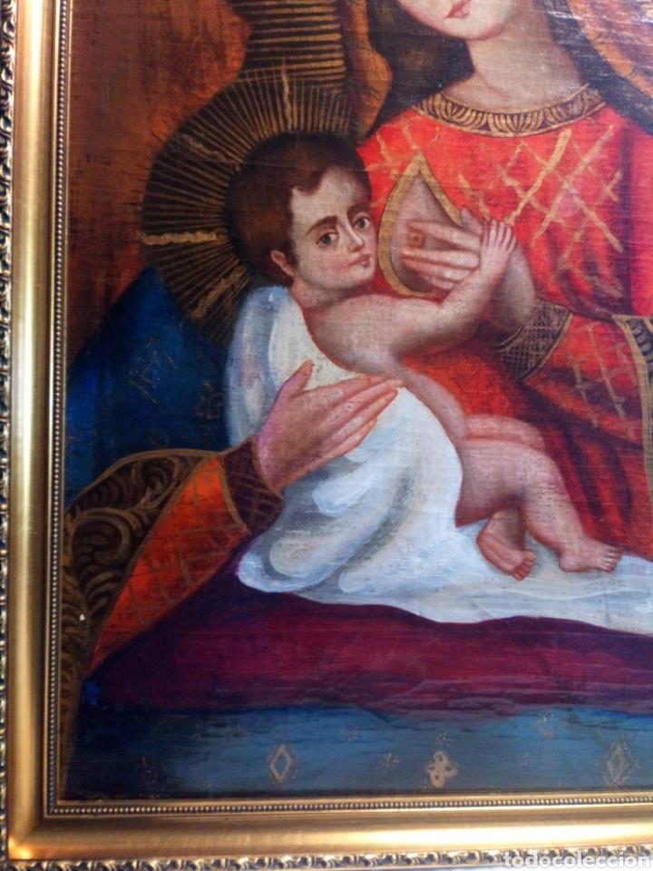 Arte: Precioso óleo sobre lienzo.Virgen de la leche. Escuela Cuzqueña? - Foto 4 - 206151096