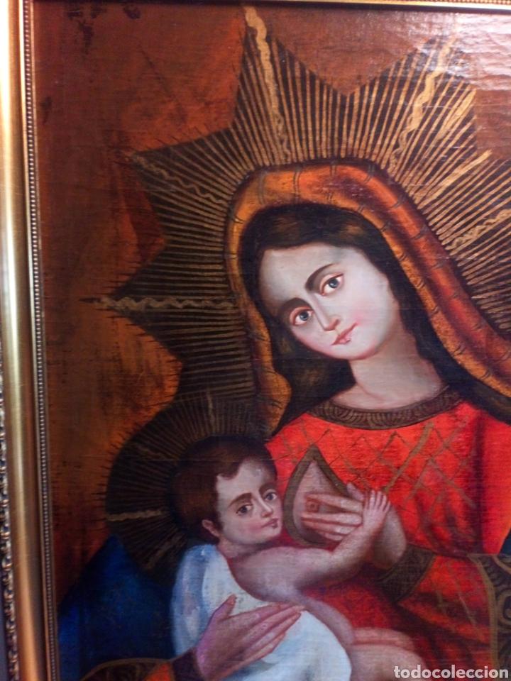Arte: Precioso óleo sobre lienzo.Virgen de la leche. Escuela Cuzqueña? - Foto 5 - 206151096