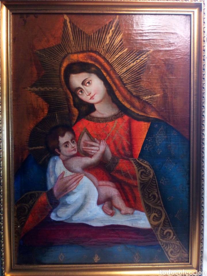 PRECIOSO ÓLEO SOBRE LIENZO.VIRGEN DE LA LECHE. ESCUELA CUZQUEÑA? (Arte - Arte Religioso - Pintura Religiosa - Oleo)
